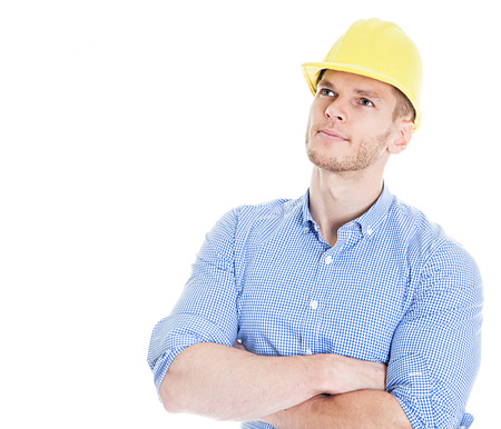 Construction engineer thinking isolated on white background