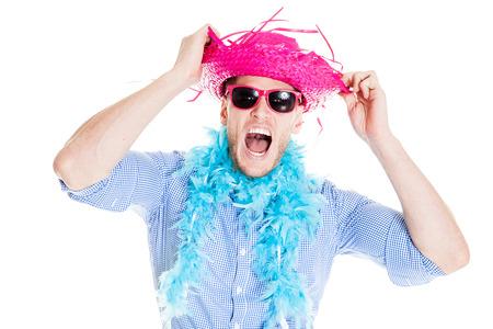 Verrückte junge Partei Man - Photo Booth Foto Standard-Bild - 63536298
