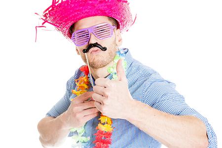 El hombre loco joven Party - Foto de Photo Booth Foto de archivo - 63536372