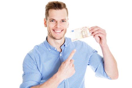 50 euro: Man Holding a 50 euro Banknote and smiling at camera Stock Photo