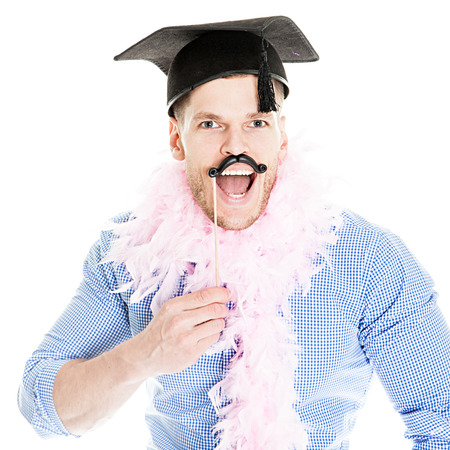 fasching: Crazy Young Party Man - Photo Booth Photo