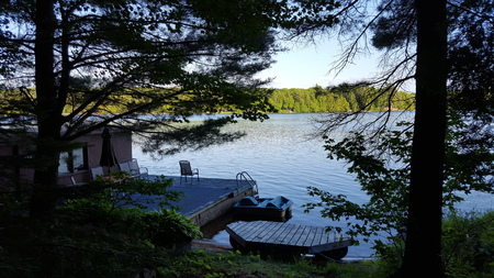 Picture Taken of Cottage Dock/Boathouse on Lake in North America