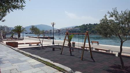 Modern Park Aside City River in Europe/Mediterranean/Greece