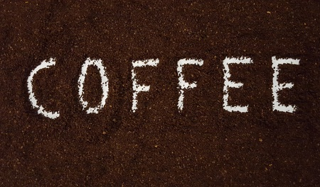 Coffee Spelled Out in Ground Coffee/Coffee Grinds