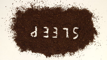 Sleep Spelled Out in Ground CoffeeCoffee Grinds