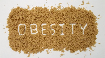 Obesity Spelled Out in Brown Sugar 写真素材