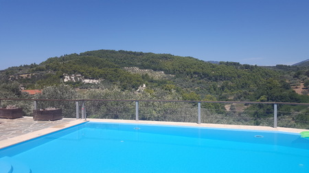 Travel Resort Hotel View of Valley and Hill Range in Europe/Mediterranean/Greece