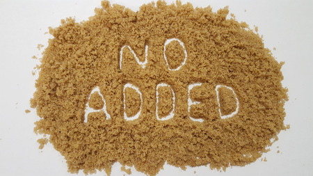 No Added Spelled Out in Brown Sugar on White Background.  No Added Sugar.