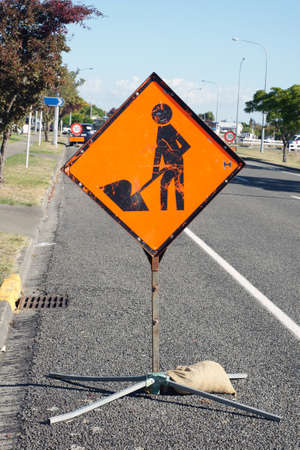 Men at work road sign photo