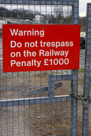 trespass: Do not trespass railway notices -British