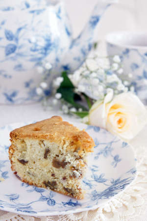 Afternoon tea with light fruit cake photo