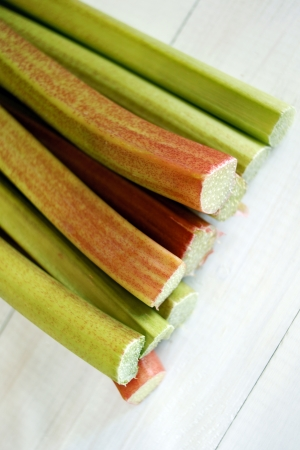 Freshly cut Rhubarb stems shot with shallow depth of field Stock Photo - 21424973