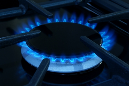 Gas ring on a domestic cooker or stove photo