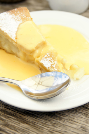 Apple pie and custard photo