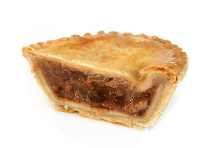 uk cuisine: Savoury meat pie with a beef filling studio isolated