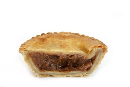 meat pie: Savoury meat pie with a beef filling studio isolated