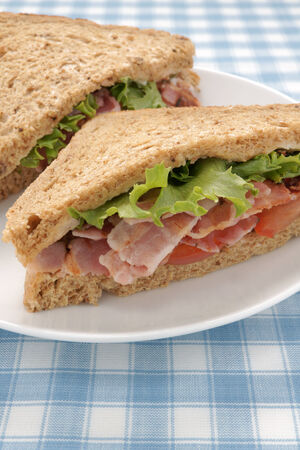 malted: Bacon Lettuce and Tomato Sandwich on malted whole grain bread Stock Photo