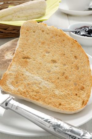 bread soda: Irish Soda Bread or Farls split and toasted no butter Stock Photo