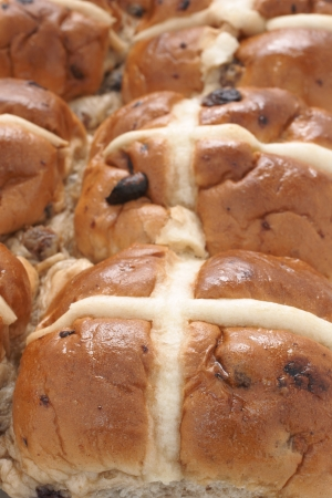 teacake: Hot Cross Buns fresh from the oven Stock Photo