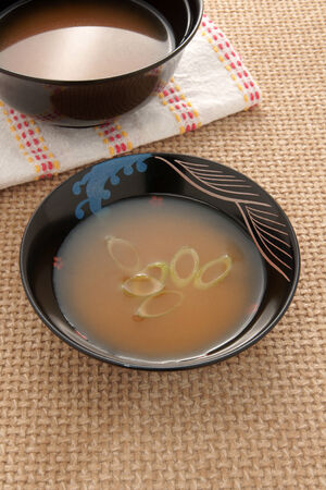 scallions: Miso soup with chopped spring onion or scallions Japanese cuisine