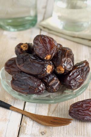dactylifera: Dried dates the fruit of the date palm Phoenix dactylifera