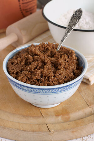 Dark Muscovado Sugar an unrefined organic brown sugar with a strong molasses flavor also known as as Barbados sugar molasses sugar or moist sugar