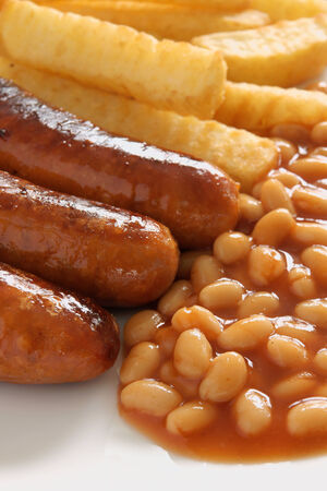 baked beans: Sausage beans and chips a popular British comfort food