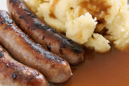 Bangers and Mash a hearty meal of sausages and mashed potato with gravy
