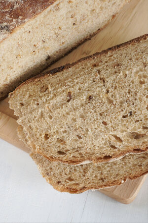malted: Freshly baked home made malted wholemeal bread