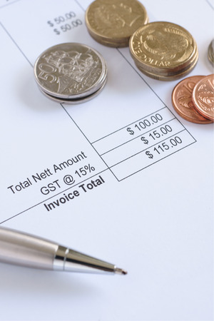 New Zealand GST or Goods and Service Tax concept with New Zealand coins