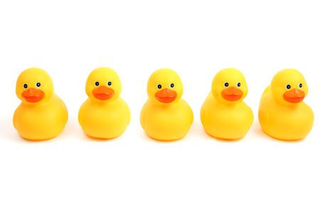 hilera: Amarillas patos hora del ba�o en una fila