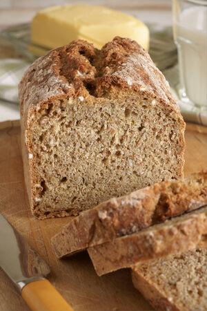 bread soda: Irish wheaten bread soda bread made with wholemeal flour Stock Photo