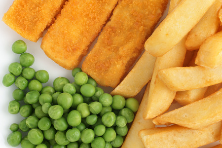 Fish fingers chips and peas Stock Photo