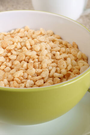 bowl of rice: Puffed rice breakfast cereal