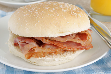 Bacon Sandwich or bacon roll Stock Photo