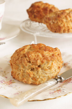 sweet and savoury: Cheese scones a savoury variety of the more traditional sweet scone Stock Photo