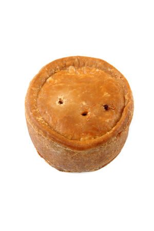 short crust pastry: Traditional style pork pie top down view on a white background