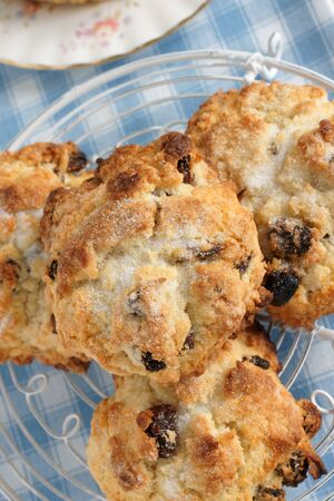 crumbly: Rock Cakes light crumbly cakes filled with dried fruit Stock Photo