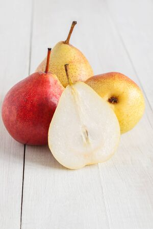 communis: Forelle Pears an heirloom variety of Pyrus communis the European pear or common pear Stock Photo