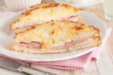 melted cheese: Croque Monsieur a traditional French toasted cheese and ham sandwich topped with bechamel sauce