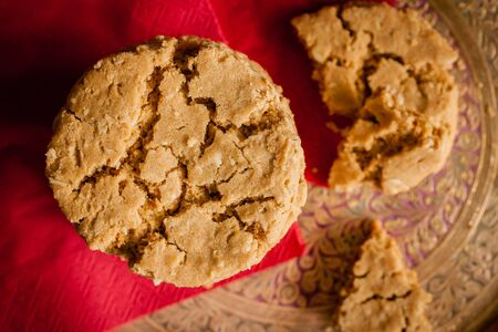 treacle: Ginger and treacle or molasses cookies in a stack shot against a stylish background