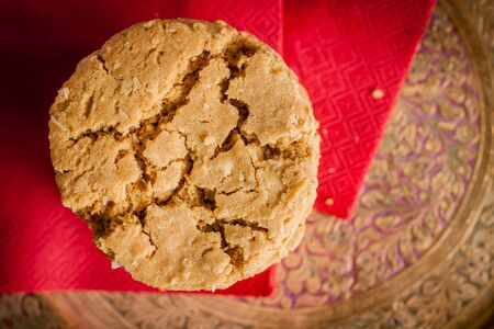 oatmeal cookie: Ginger and treacle or molasses biscuits Stock Photo