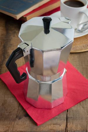 percolator: Traditional style Italian moka or macchinetta coffee pot