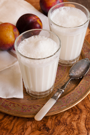 Ayran or Doogh a popular diluted yogurt drink from the Middle East Stock Photo