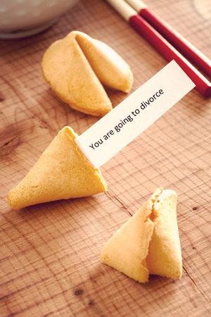 bad fortune: Fortune Cookie with a bad luck divorce message vintage filter applied to image