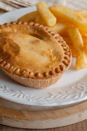 savoury: Savoury meat pie with chips or French fries