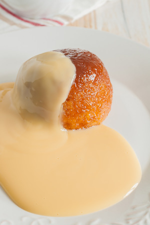 treacle: Steamed golden syrup sponge pudding and vanilla custard