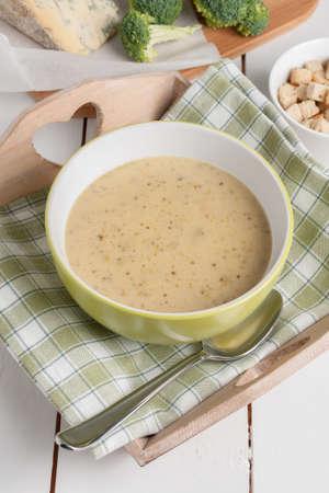 stilton: Broccoli and Stilton Soup made with fresh broccoli and mature English Stilton cheese Stock Photo