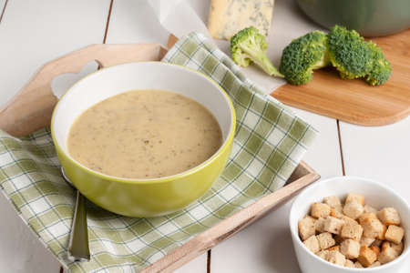stilton: Broccoli and Stilton Soup made with fresh broccoli and mature English Stilton cheese with copy space