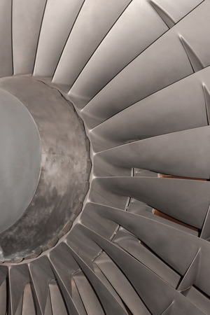 gas turbine: Gas turbine or aircraft jet engine compressor blades close up detail Stock Photo